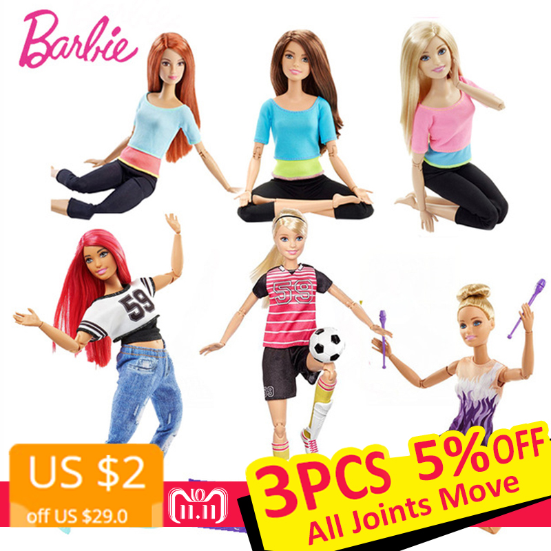 Original Barbie Brand American Girl Dolls 6 Style Gymnas Joints Movement Toys For Children The Girl A Birthday Gift Bonecas  barbie originais hair feature doll house coloring activity american girl dolls barbie dolls brinquedos boneca children gift fbh6