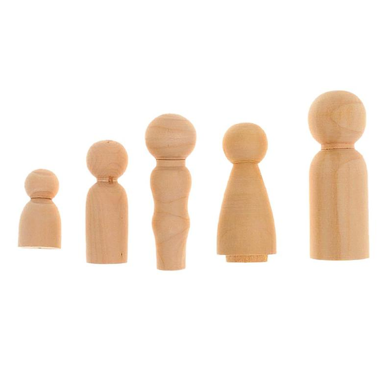 5pcs/Set Wooden Family Peg Dolls DIY Wedding Cake Decor Kids Painted Toy