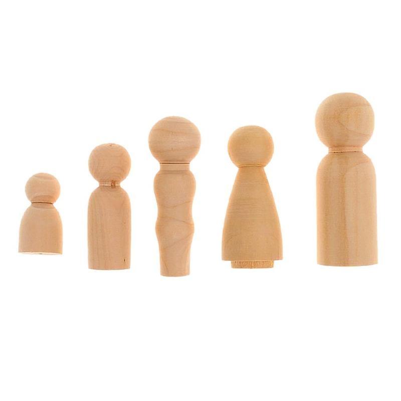 5pcs/Set Wooden Family Peg Dolls DIY Wedding Cake Decor Kids Painted Toy