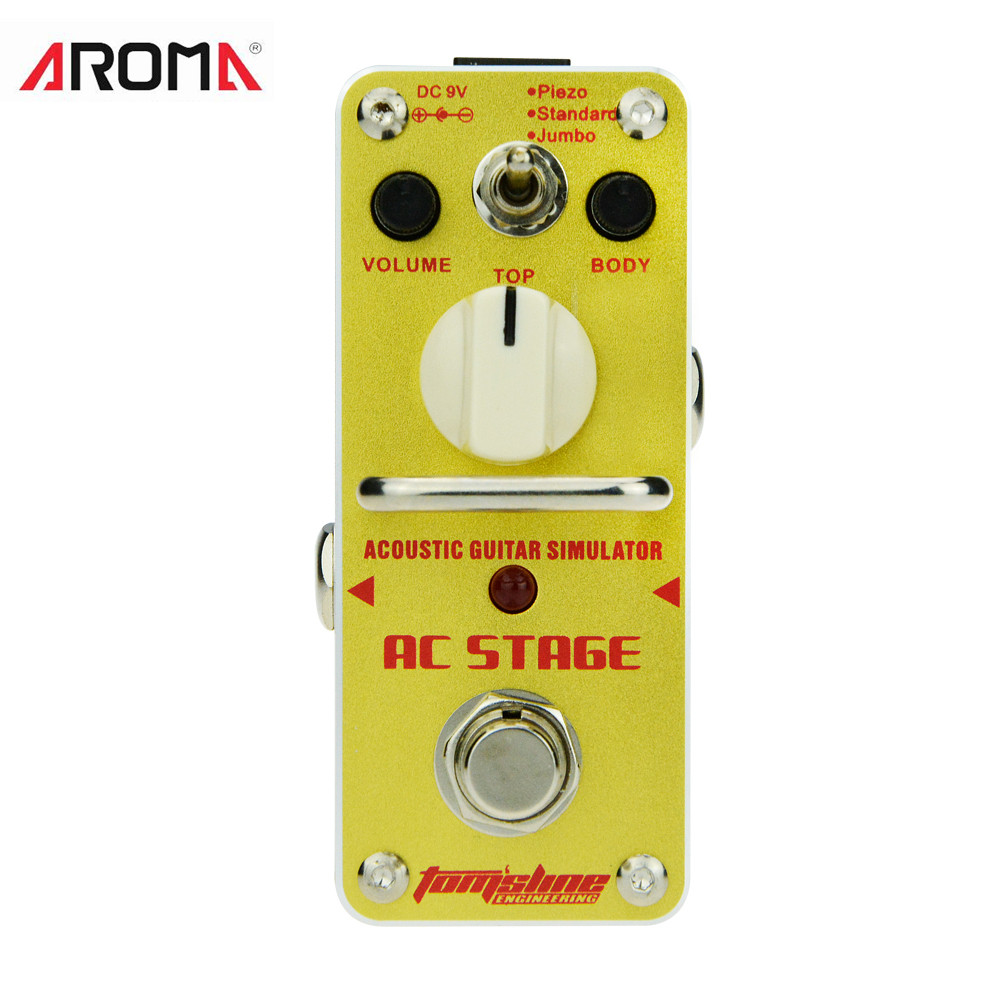 AROMA AAS-3 Guitar Effect Pedal AC STAGE Acoustic Guitar Simulator Mini Analogue Effect True Bypass For Guitar Ukulele amc 3 manic high gain distortion guitar effect pedal aroma mini analogue pedals purple color true bypass guitar parts