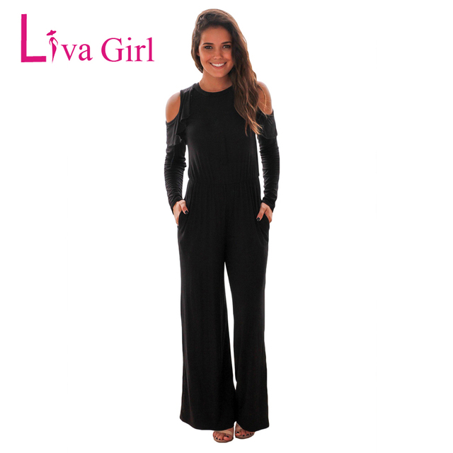 8ae33a6adc6 Liva Girl Long Sleeve Rompers Womens Jumpsuit Loose Jumpsuit Black Playsuit  Sexy Fitness Jumpsuits Women Combinaison Femme