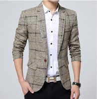 2019 New Listing Brand Clothing Jacket Men's Plaid Suit Jacket Men's Suit Jacket Fashion Slim Men's Casual Blazer Large Size M 4