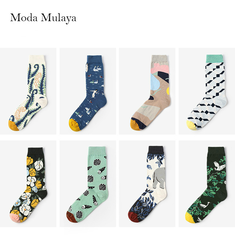 2019 New Womens Funny Socks Women Print Colorful Cartoon Animal Pattern Socks Harajuku Korean Ankle Couple Happy Socks For Women