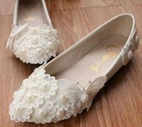 White Lace Flowers Girl Flats Lace Shoes TG061 Bow Butterfly Sweet Lady Birthday Parties Evening Party
