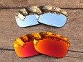 Серебристый хром и Красный Огонь 2 Пар Зеркало Поляризованных Сменные Линзы Для TwoFace Солнцезащитные Очки Кадров 100% UVA и UVB Защиты