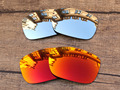 Chrome Silver & Fire Red 2 Pairs Mirror Polarized Replacement Lenses For TwoFace Sunglasses Frame 100% UVA & UVB Protection