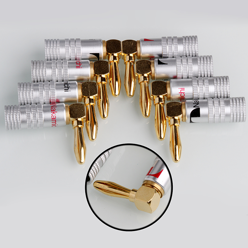 20PCS Angle Speaker Banana Plug Adapter Wire Connector 24K Gold Plated For Musical HiFi Audio 20pcs 4mm gold plated banana audio speaker plugs set wire connectors musical cable adapters for electronics e with box