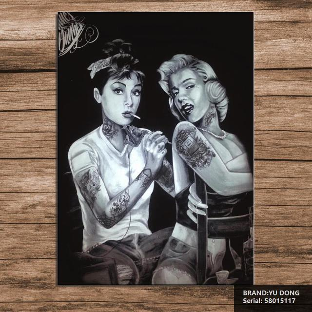 Marilyn monroe and audrey hepburn tattoo poster sexy for Marilyn monroe tattoo canvas