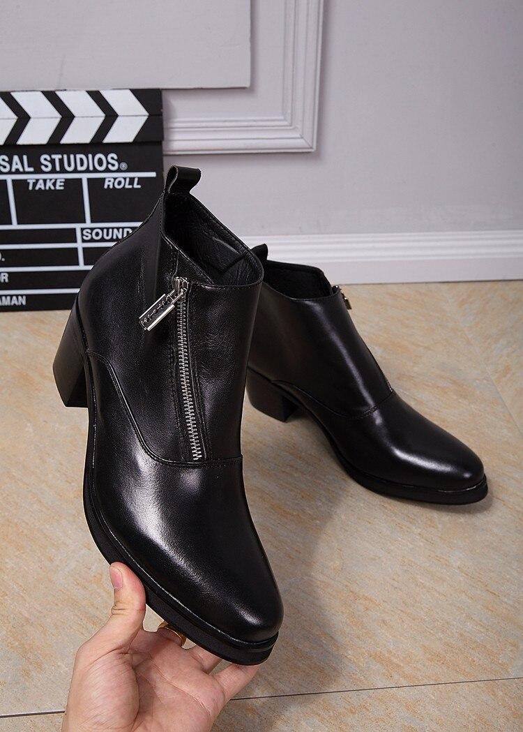 Italian Designer Shoes Mens Ankle Boots Sepatu Pria Luxury Zipper Leather Black Men Dress Shoes Bussiness Party Martin Boots Men