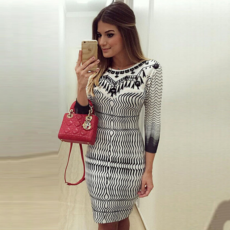 Chic Women 3 4 Sleeve Slim Bodycon Wiggle Dress Office Ladies Floral