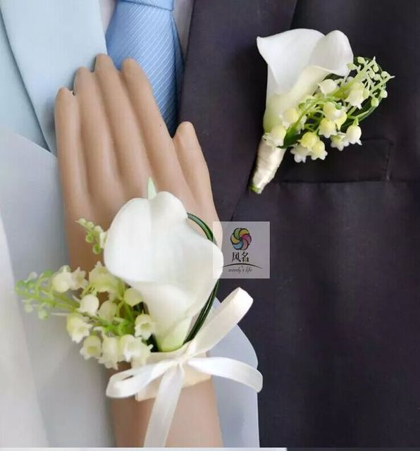 Classic White Calla Wedding Flower Brooches Romantic Beauty Bride Flower Mens Suit Brooches