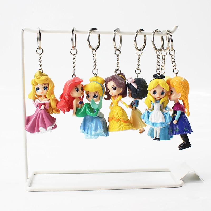 8pcs/lot 9-10cm Princess Keychain Snow White Belle Ariel Cinderella Pendant Figurine PVC Action Figure Model Toy