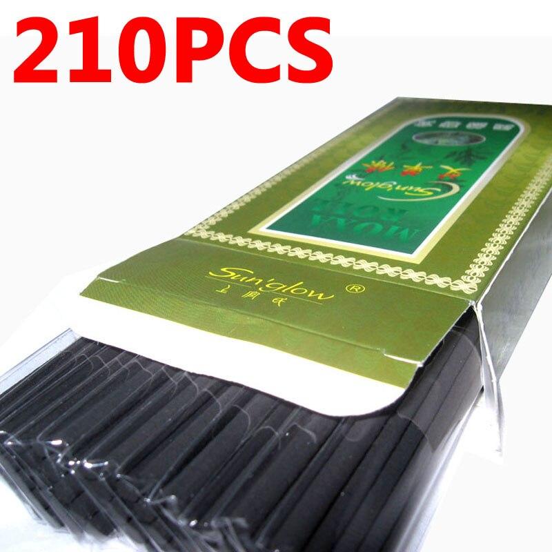 210Pcs/Lot Pure Black Smokeless Moxa Roll Moxa Stick Moxibustion 12mm*4mm value set good quality 1pcs bronze moxa box with beauty bag 1pack 108pcs moxa roll 1pack dia12mm 10pcs smokeless moxa roll