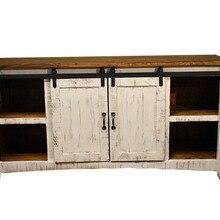 DIYHD маленькая дверная фурнитура для сарая, деревянный шкаф, двойное оборудование для раздвижной двери сарая, мини дверная дорожка для сарая, комплект, чтобы повесить 2 двери