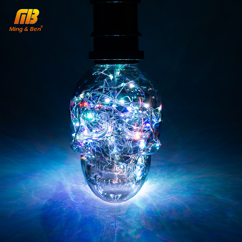 [MingBen] Led String Licht RGB Kupfer Seide Lampe Schädel 110 v 220 v Halloween Weihnachten Dekoration E27 Leds birne Für Home Cafe Bar