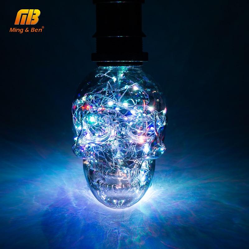 Cadena de luz LED RGB de cobre seda LED lámpara bombillas cráneo AC 110 V 220 V de Halloween decoración de Navidad E27 Led bombilla para el hogar Cafe Bar