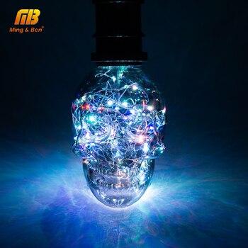 LED String Licht RGB Kupfer Seide LED Lampe Lampen Schädel AC 110V 220V Halloween Weihnachten Dekoration E27 Led birne Für Home Cafe Bar