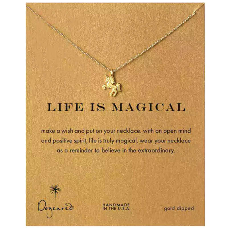 Fashion Alloy Magical Unicorn Horse Gold/Silver Pendant Necklace For Women Clavicle Chain Girl Holiday Beach Jewelry Gifts