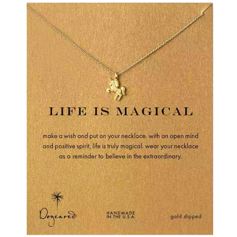 Moda liga mágica unicórnio cavalo dourado/prateado pingente colar para mulher clavícula corrente menina férias praia jóias presentes