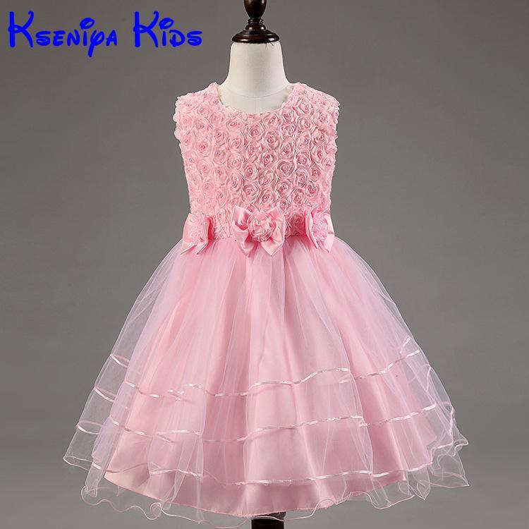2016 Children Girls Kids Summer Dresses For Girls Wedding Dresses Girls Party Flower Dress Wear Kids Clothes Girls