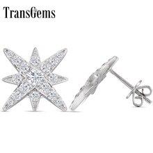 цены Transgems 18K 750 White Gold Star Shaped Earrings F Color Moissanite Stud Earrings Push Back for Women Wedding Jewelry Gift