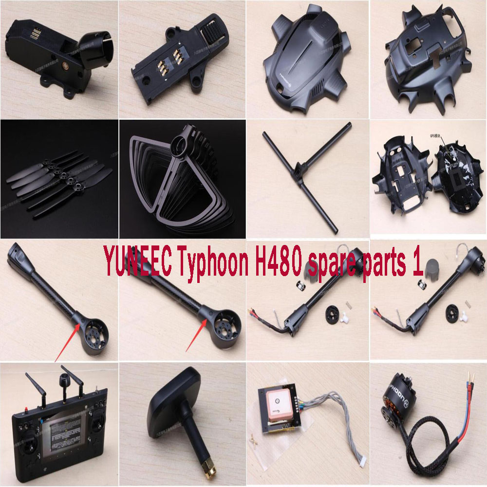US $9 31 6% OFF|YUNEEC Typhoon H480 FPV Drone RC Quadcopter spare parts  motor arm blades Tripod landing gear bracket body shell GPS module set1-in