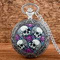 Unique Silver Skull Steampunk Quartz Pocket Fob Watch Men Women Vintage Jewelry Necklace Punk Pendant Clock With Chain Gifts