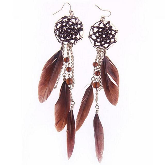 Bohemia Feather Beads Long Pendant Design Dream Catcher Dangle Gorgeous Dream Catcher Earrings Online