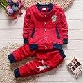 2016 Primavera e No Outono do bebê da menina do menino roupas longo-manga top + calça 2 pcs. moda terno conjunto de roupas de bebê Roupas de Bebê