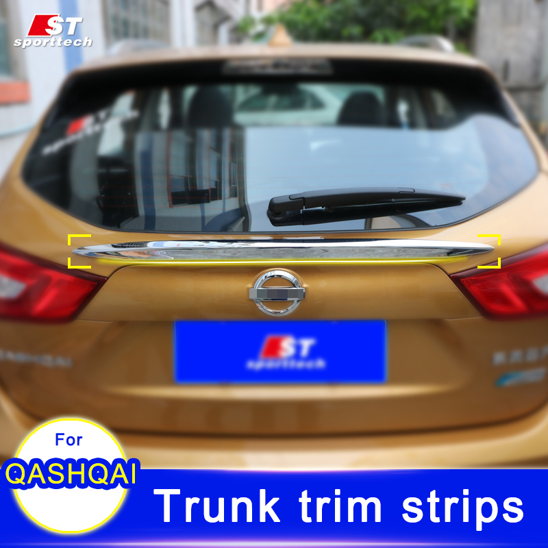 Car Trunk Trim Strip For Nissan Qashqai ABS Chromium Styling Car Boot Cover Stickers For Nissan Qashqai 2016 Cover Accessories car rear trunk security shield shade cargo cover for nissan qashqai 2008 2009 2010 2011 2012 2013 black beige
