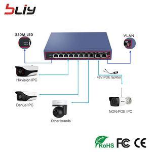 Image 3 - Commutateur ethernet poe, 100 mb/s, 8 ports, réseau poe 48/56V, 250M vlan, pour caméra IP ou sans fil, AP ftth