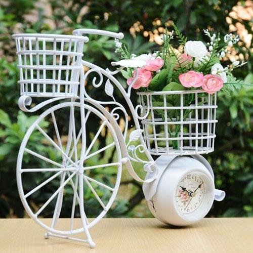 Romantic Retro Iron Art Bike Model Bracket Clock And Flower Holder Craft  For Wedding Decoration,