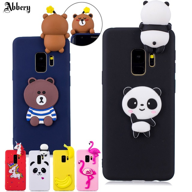 finest selection e4c36 91dd7 US $3.74 |Abbery for Samsung S9 case 3D Cute Cartoon Panda Bear Fundas Case  for Samsung galaxy S9plus Soft Silicone Case Back Cover Fundas-in Fitted ...