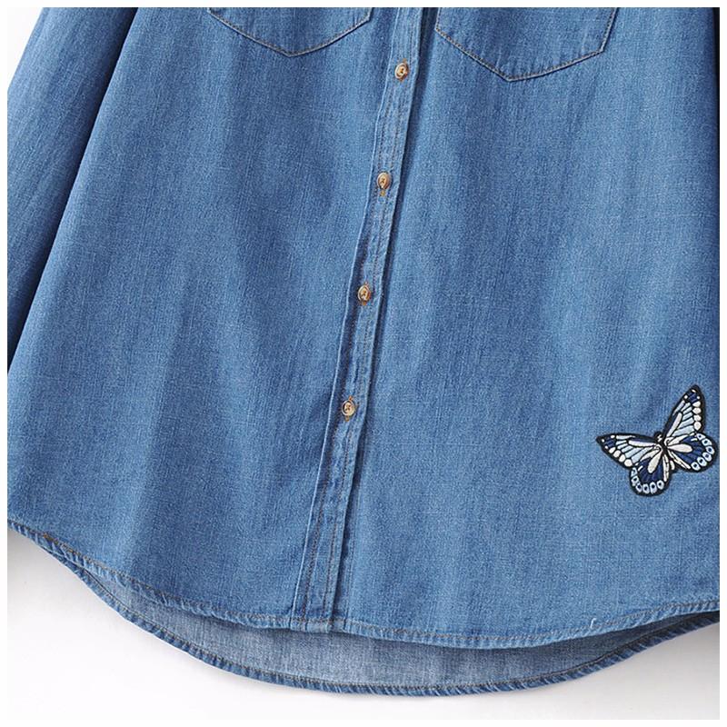 cbcff867f6 NINFA Mujeres Mezclilla Camisa Chemise Femme de Jean Pantalones ...