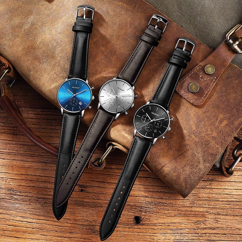 cuir Esope montres Relogio