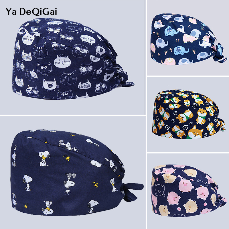 High Quality Printed Elastic Medical Surgical Cap Operating Room Pet Hospital Doctor Nurse Work Cap Men And Women Adjustable Hat