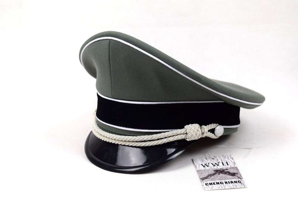 Men s WWII WW2 German Elite Whipcord Officer Hat Cap IN SIZES