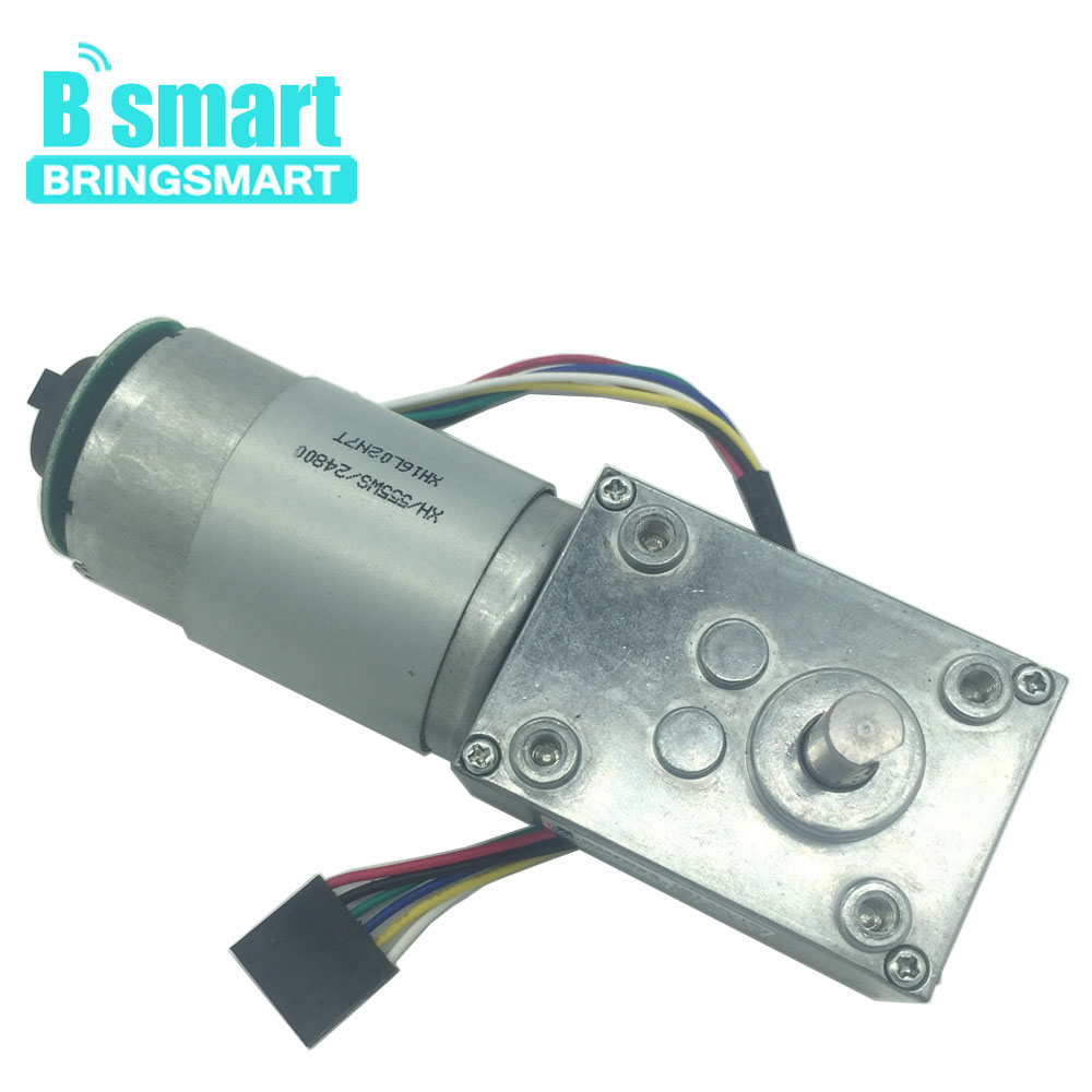 Bringsmart 24V DC Motor A58SW-555B DC 12V Encoder Worm Geared Motor 16rpm High Torque Reduction Encoding Motor Self-Lock GearboxBringsmart 24V DC Motor A58SW-555B DC 12V Encoder Worm Geared Motor 16rpm High Torque Reduction Encoding Motor Self-Lock Gearbox