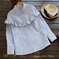 Casual Loose Turn Down Collar Blue White Striped Flounces Mori Girl Long Sleeve Female Shirt Blouses Women Plus Size X050