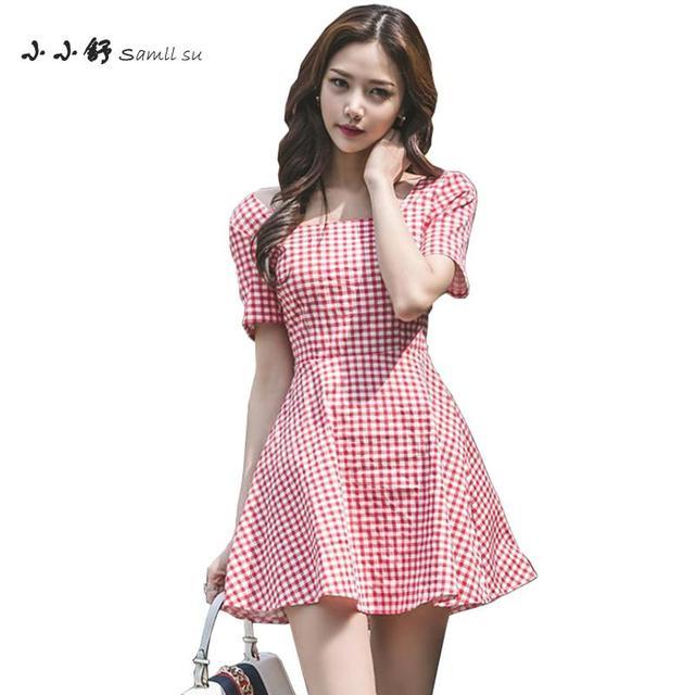 17fbb1d1c55 Summer Red White Plaid Dress Short Sleeve Square Collar Sundress Women 2018  Bandage Bodycon Office Lady Bow Aline Mini Dresses