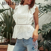 80a51576c Affogatoo Vintage Casual White Summer Tank Tops Women Elegant Ruffle Hollow  Out Holiday Tops High Waist
