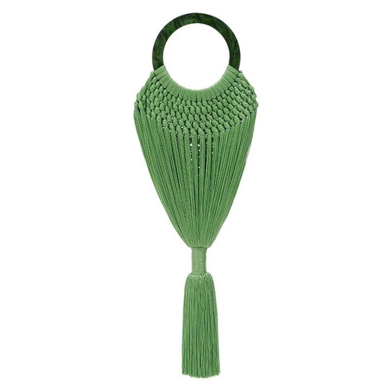 JHD-acrylique poignée femmes gland corps sacs à main à la main tissage maille Net panier femelle anneau poignée fourre-tout tressé été sac de plage
