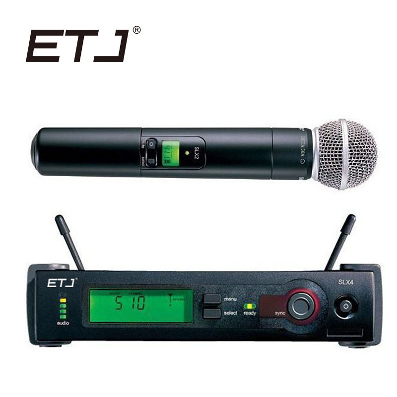 ETJ Brand SLX24/BETA58 58A Professional UHF Wireless Dual Microphone System For Stage Studio Handheld Microphone etj brand ur1000d true diversity professional uhf wireless microphone 2 transmitter 4 receiver stage performance microphone