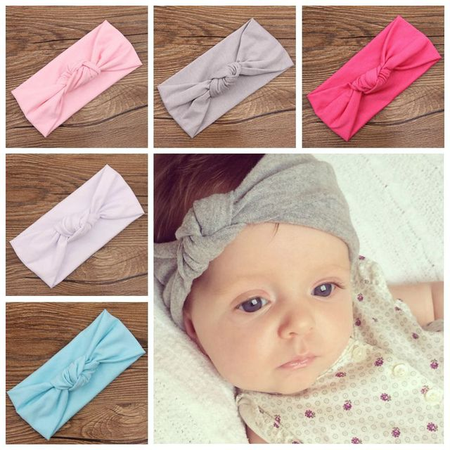 11849f536 Headband Baby Head Wrap Children Tie Knot Head band Knitted Cotton Elastic  Girls Hair Band Toddler
