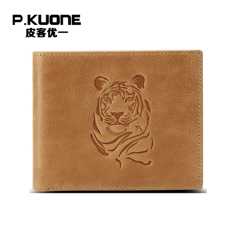 P.KUONE Tiger Design Genuine Leather Men Wallet Business Men Mini Purse Passport Cover Travel Famous Brand Credit Card Holder famous brand new passport card holder