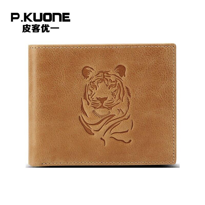 P.KUONE Tiger Design Genuine Leather Men Wallet Business Men Mini Purse Passport Cover Travel Famous Brand Credit Card Holder