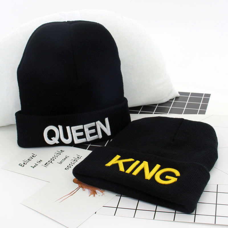 1 Piece KING and QUEEN Embroidery Knitted Wool Hat Couple Beanies Hat Men and Women Fall and Winter Warm Ski Cap 4 Colors 10214 20 colors fall and winter europe and the united states men and women s bad hair day embroidery beanie kintted wool hat hiphop