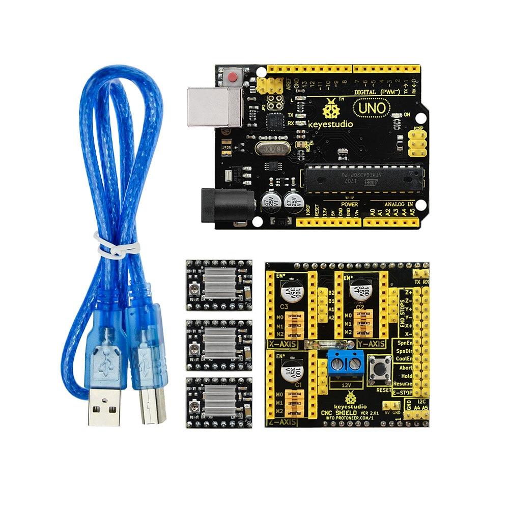 Free Shipping! Keyestudio CNC KIT For Arduino CNC Shield V2+UNO R3+3xA4988 GRBL Compatible