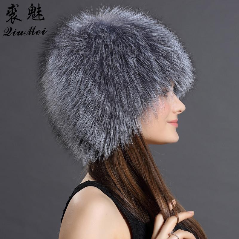 QiuMei gorros de piel de zorro Real de invierno gorras de piel de lujo elásticas de punto forrado genuino de piel de zorro mapache gorros de bombardero ruso - 2