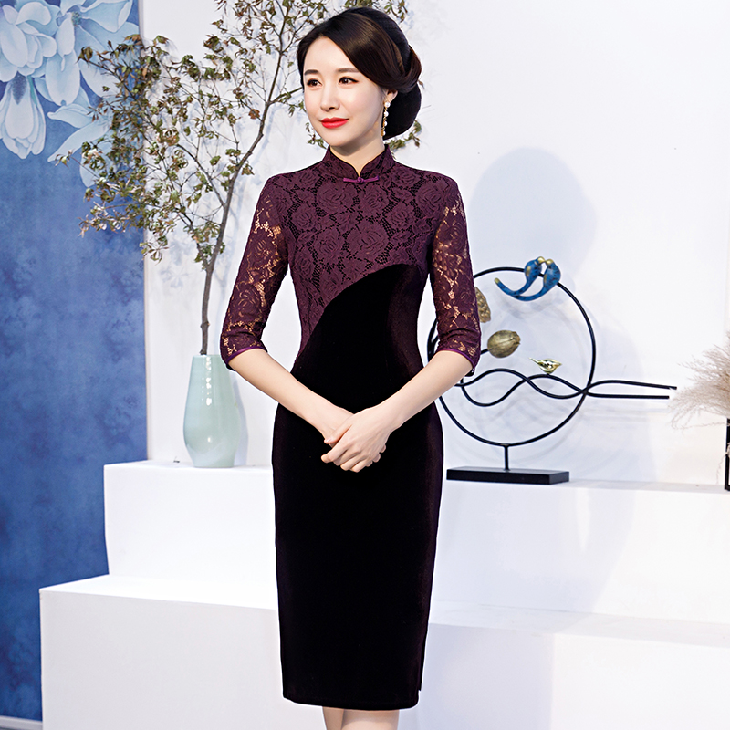 Traditional Chinese Clothing Intelligent Brand New Arrival Chinese Traditional Womens Velour Lace Long Cheong-sam Dress S M L Xl Xxl Sf111909